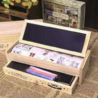 单件包邮  双层木质抽屉多功能笔盒 铅笔盒 文具袋 文具盒 韩国文具