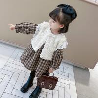 女童套装裙秋冬装儿童马甲女宝宝格子连衣裙两件套