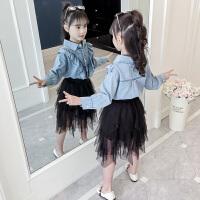 2019春装新款儿童韩版长袖洋气娃娃领上衣儿童牛仔衬衣女童衬衫