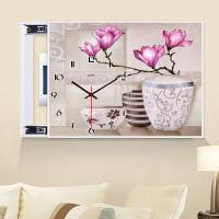 电表箱装饰画 有框水晶面带钟表可推拉配电箱遮挡画 墙面壁画挂画
