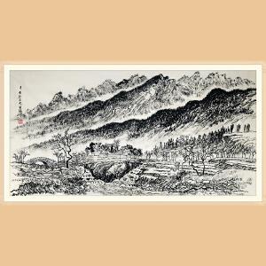 著名画家 张仃(山水)ZH416附鉴定证书,合影