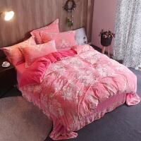 水晶绒四件套床单短毛绒被套5d雕花绒加厚法兰绒冬季简约珊瑚绒4