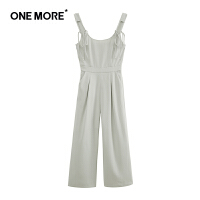 ONE MORE2019夏季新款九分连体裤韩版高腰阔腿休闲裤通勤款