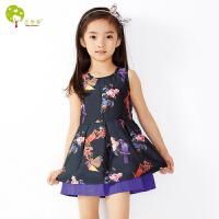 【当当自营】贝康馨童装 女童卡通连衣裙 韩版裙子欧根纱双层童裙