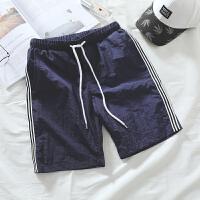 夏季休闲裤短裤男士宽松条纹沙滩裤子韩版潮五分运动大裤衩男装