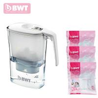 德国BWT倍世 过滤水壶净水壶净水器3.6升 阻垢款白色 蓝色 一壶四芯