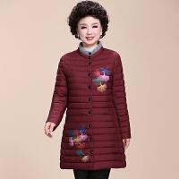 老年妈妈棉袄外套中老年人女装冬装棉衣中长款秋冬羽绒50岁60