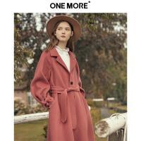 【ONEMORE秋季特惠 3折价:1866】ONE MORE2019冬装新款羊毛红色大衣女长款双面呢毛呢外套袖口绑结