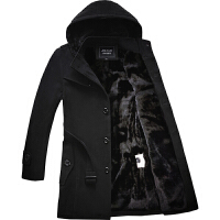 风衣男冬季中长款加绒加厚韩版帅气保暖外穿男士呢子大衣青年外套