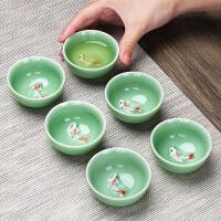 【优选】功夫小茶杯陶瓷茶盏茶碗茶具家用品茗杯紫砂主人杯青花瓷泡茶