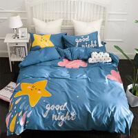清新刺绣床单卡通儿童床上用品三件套定制