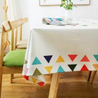 韩式卡通茶几桌布布艺棉麻餐桌布台布长方形儿童小方桌书桌布清新 多彩旗趣桌布