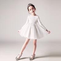花童婚纱裙女童小主持人女孩晚礼服儿童长袖礼服公主裙蓬蓬纱裙