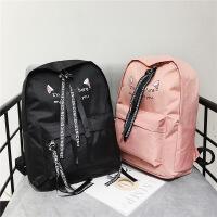 新款女帆布双肩包中小学生男女通用书包旅行背包