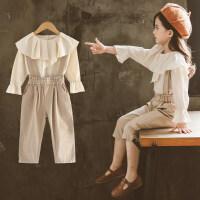 童装女童秋装套装2018新款洋气两件套宝宝时髦背带裤儿童韩版潮衣ZQ55 如图色
