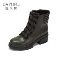 Daphne/达芙妮冬潮流马丁靴短靴 中跟圆头复古英伦风单靴女-