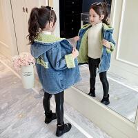 2019年新款时髦小女孩洋气公主冬装女童秋冬装牛仔羊羔毛外套