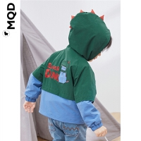 MQD小童连帽外套春秋小恐龙男宝宝绿色风衣儿童夹克洋气外套宝宝