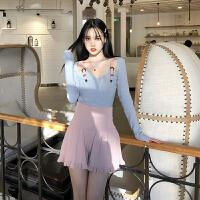 韩版小香风套装新款修身显瘦皮带拼接打底衫高腰针织裤裙两件套女