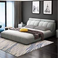 北欧布艺床主卧可拆洗现代简约双人1.8米小户型布床储物软包婚床 +乳胶床垫+2柜 1800mm*2000mm 组装式箱