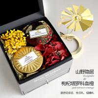 香薰蜡烛创意生日永生花礼盒伴新婚闺蜜礼品结婚礼物 红色 �盅�
