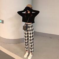 套装女春装2019韩版百搭长袖T恤上衣高腰格纹休闲九分裤两件套潮