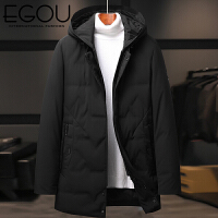 EGOU羽绒服男2020冬季90白鸭绒简约男士中长款舒适保暖羽绒外套182019
