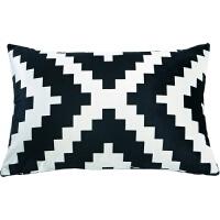北�W��s�p面黑白�S床上靠背腰枕�k公室沙�l靠�|含芯�L方形抱枕套 白色 R-黑半菱形