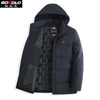 男士棉服超长款棉衣加绒加厚保暖冬季新款大码青年中年休闲外套连帽Z8905