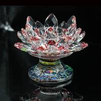 水晶莲花烛台摆件供佛酥油灯座水晶莲花烛台家具工艺品摆件