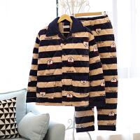 冬季睡衣男三层加厚夹棉珊瑚绒睡衣青年法兰绒保暖套装家居服外穿