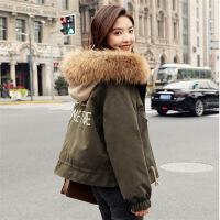短款外套女冬加厚小个子棉衣韩版新款棉袄矮冬装棉衣潮流 军绿色 XS