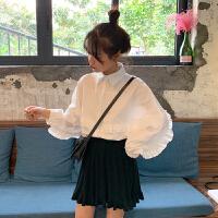 套装女春装2019新款百搭长袖宽松衬衫高腰针织百褶半身裙两件套潮