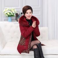 中老年女装冬装棉衣40岁50妈妈装加厚羽绒大码外套中长款棉袄 红色 XL建议90-110斤