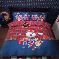 儿童全棉磨毛四件套卡通男孩帆船三件套冬季加厚保暖全棉床上用品定制