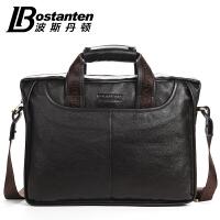 波斯丹顿男士手提包头层牛皮14寸电脑公文包单肩包男休闲商务男包B10023