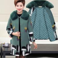 中年女冬装外套新款40-50岁妈妈装秋冬中长款棉衣中老年女装毛呢 加棉绿色 XL(建议90-115斤)