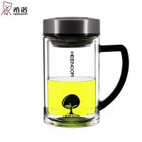 双层玻璃杯带盖过滤办公室泡茶杯手柄创意便携玻璃水杯子 无色透明