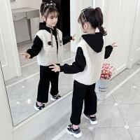 秋冬女童2019新款套装中大童韩版洋气加绒加厚卫衣三件套儿童装