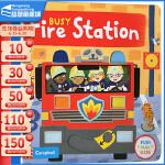 #英文原版绘本0 3 6岁 Busy Fire Station 繁忙忙碌的消防局 纸板机关操作活动书 幼儿启蒙学习 亲