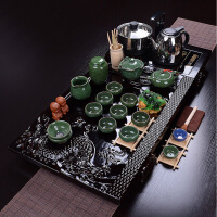 尚帝整套茶具绿冰裂功夫茶具四合一电热磁炉实木茶盘套装BH2016-XM146