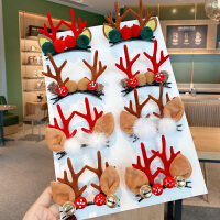 圣诞节饰品发箍头饰麋鹿角发夹对夹可爱节日侧边夹子发饰顶夹发卡