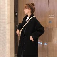 冬季女�b�n版��松色中�L款毛呢外套赫本�L�^膝�L衣呢子休�e大衣 黑色 均�a(160/84A)