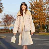 【2件3折】ONE MORE2019冬季新款小香风羽绒服拼接粗花呢时尚短款外套女士