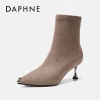 Daphne/达芙妮2019秋冬新款尖头高跟短靴细跟瘦瘦弹力靴袜靴女靴---