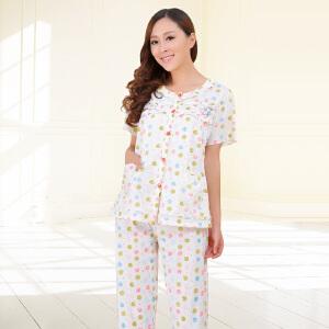 金丰田睡衣 女士夏季短袖圆领睡衣家居服套装1733