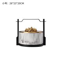 新中式摆件创意陶瓷大理石纹提盒摆件售楼部软装饰品