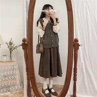 春季韩版女装娃娃领灯笼袖衬衫套装V领针织马甲高腰半身裙送腰带