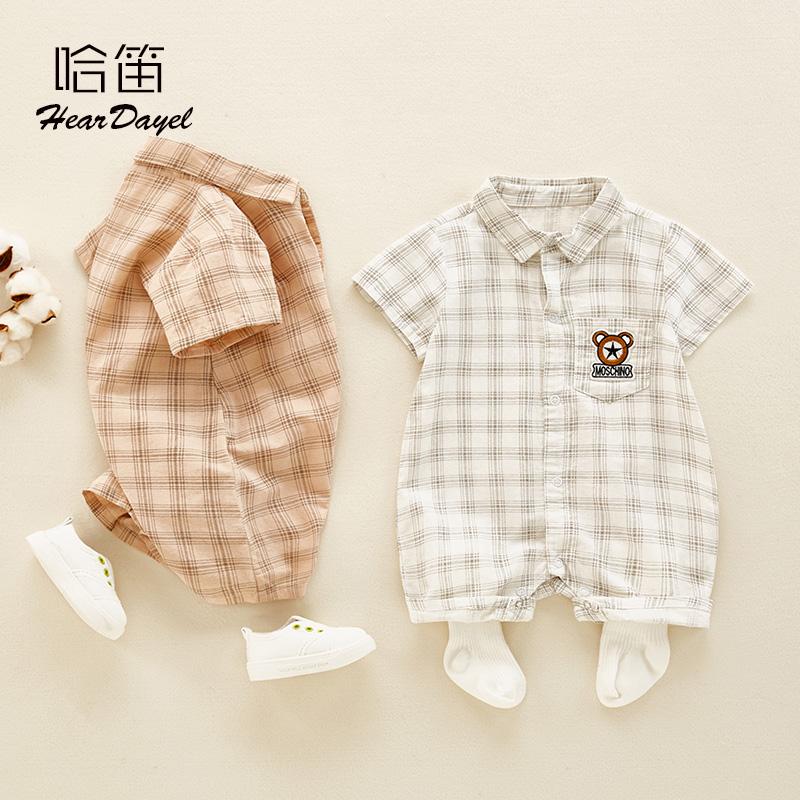夏季婴儿薄款衣服0-12个月男宝宝夏装幼儿外出连体衣