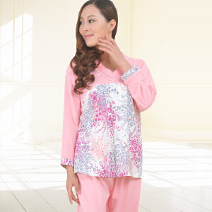 金丰田睡衣女秋中年妈妈款棉质套装长袖2017新款可外穿修身韩版套头家居服 1834